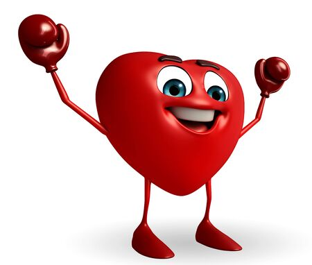 Cartoon Character of heart shape with boxing gloves photo