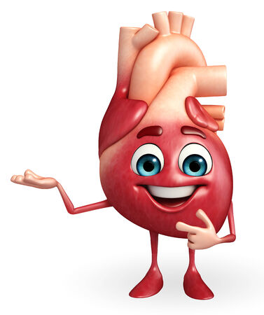 heart healthy: Cartoon Character of heart with presenting pose