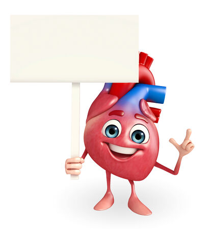 Cartoon Character of heart with sign