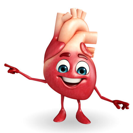 Cartoon Character of heart with pointing pose Stok Fotoğraf - 30010356