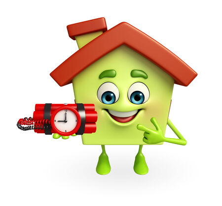 Cartoon Charcter of house with time bomb photo