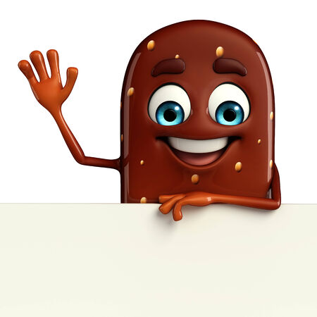 flavored: Cartoon Character of Candy with sign Stock Photo