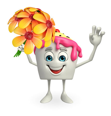 flavored: Cartoon Character of Ice Cream with flower