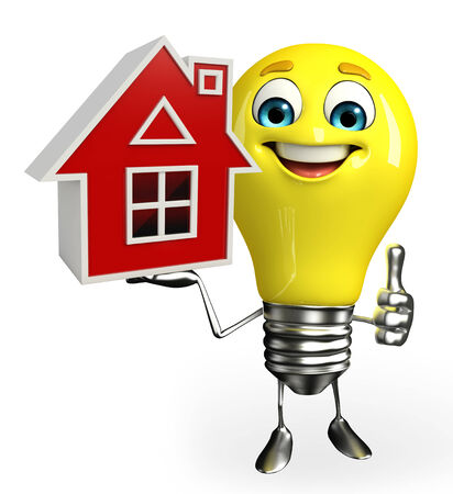 Cartoon Character of light bulb with home Stock Photo