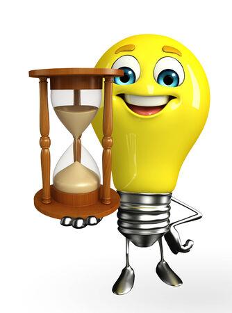 Cartoon Character of light bulb with sand clock