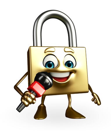 confidentiality: Cartoon Character of lock with mike Stock Photo