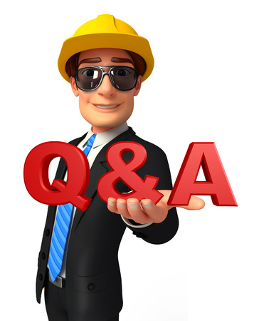 Illustration of Young Business Man with Q & A illustration