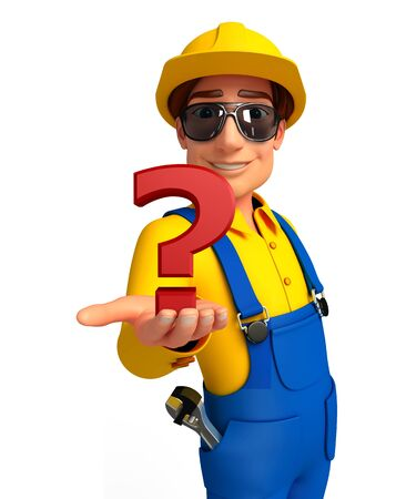 Illustration of young mechanic with question mark