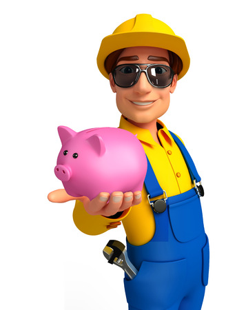 deposite: Illustration of young mechanic with piggy bank