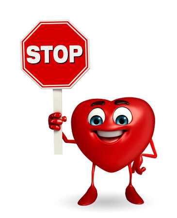 Cartoon Character of heart shape with stop sign photo