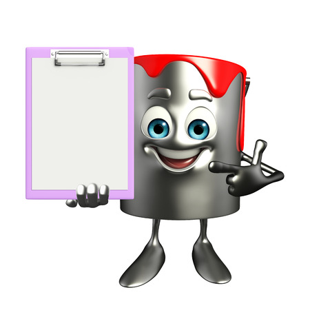 Cartoon Character of paint bucket with notepad photo