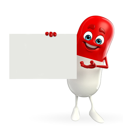 Cartoon character of pill with sign Stock Photo