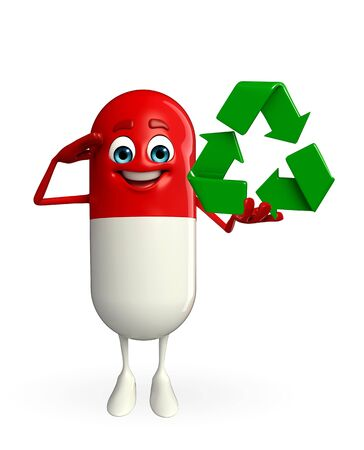 Cartoon character of pill with recycle icon photo