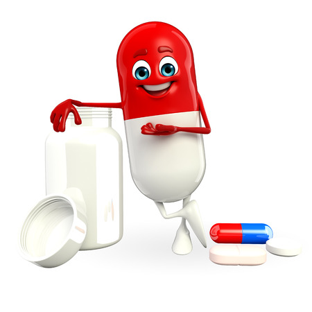 Cartoon character of pill with  pills bottle photo