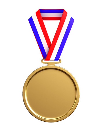 3d illustration of golden medal with ribbons