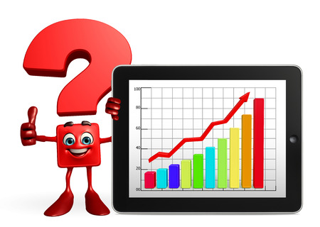 achivement: Cartoon Character of Question Mark with business graph