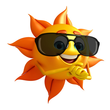 sun protection: Cartoon Character of sun with Sun glasses