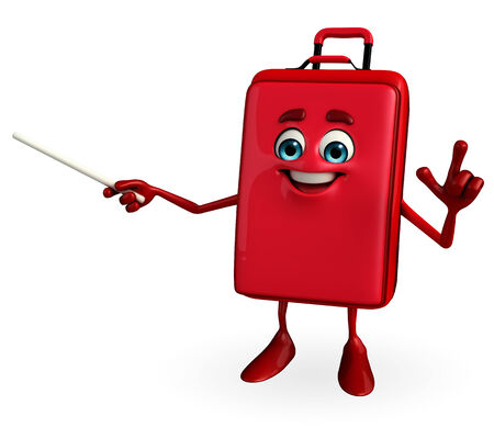 Cartoon Character of Travelling Bag is pointing photo