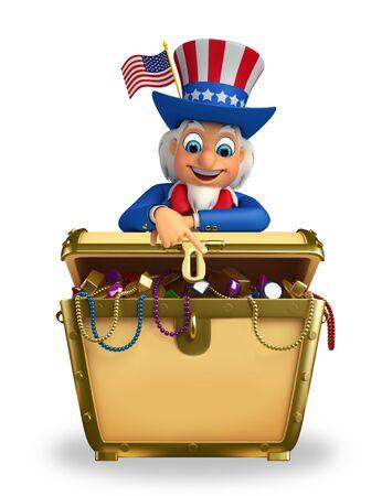 Illustration of uncle sam with treasure box illustration