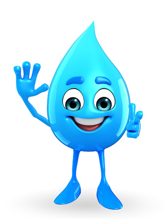 hallo: Cartoon Character Of Water Drop with hallo pose Stock Photo