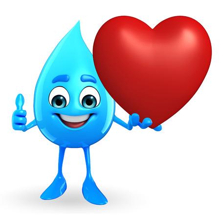 赤いハートとドロップ水の漫画キャラクター