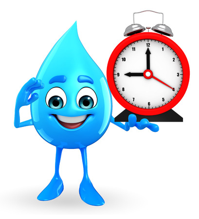 greenary: Cartoon Character Of Water Drop with table clock