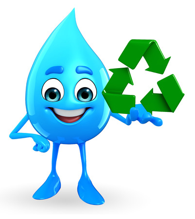 cooled: Cartoon Character Of Water Drop with recycle icon