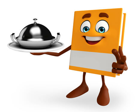 Cartoon Character of Book with dish pan photo