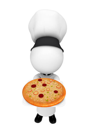 Illustration of white character as a chef with pizza illustration