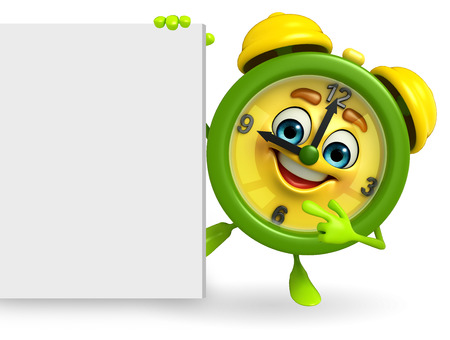 Cartoon Character of table clock with sign