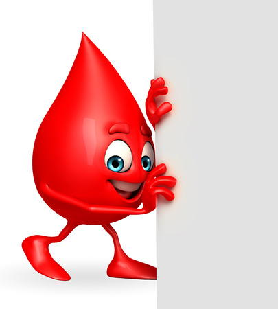blood drop: Cartoon Character of Blood Drop with sign