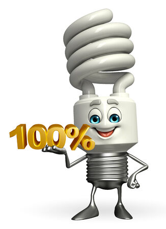 fuze: Cartoon Character of CFL with percent sign Stock Photo