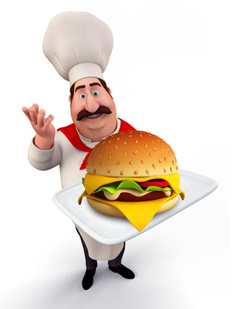 3d pizza: Illustration of young chef with burger