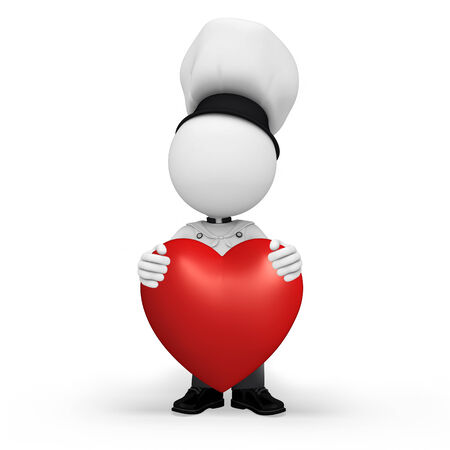 Illustration of chef with heart character illustration