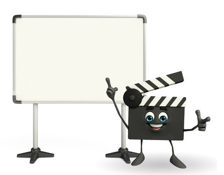 episode: Cartoon Character of Clapper Board with display board Stock Photo