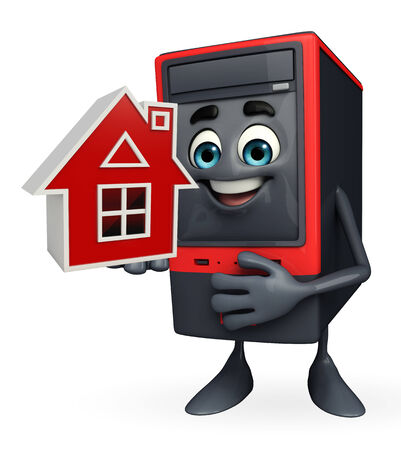 storage unit: Cartoon Character of Computer Cabinet with home