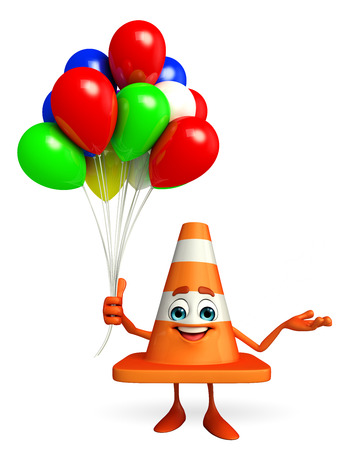 Cartoon Character of Construction cone with balloons photo