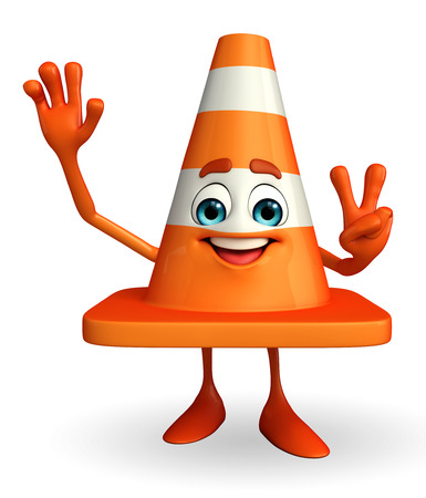 road works ahead: Cartoon Character of Construction cone with victory sign