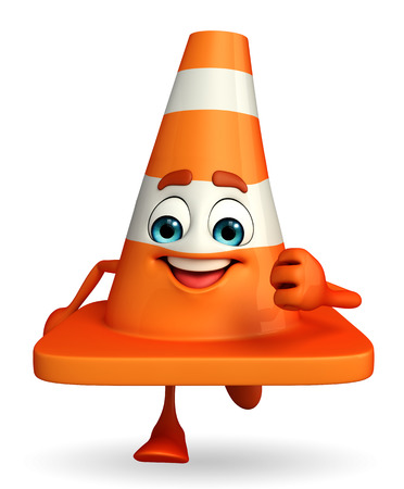 road works ahead: Cartoon Character of Construction cone is running Stock Photo