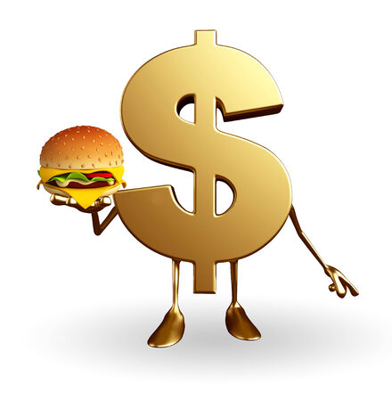 earn fast money: Cartoon Character of dollar with burger