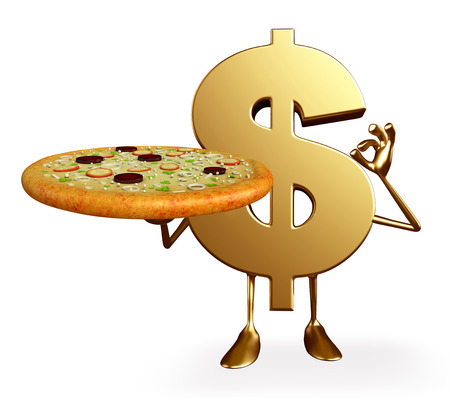 earn fast money: Cartoon Character of dollar with pizza