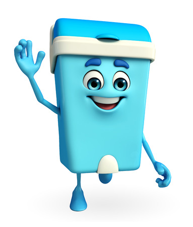 keep clean: Cartoon Character of Dustbin is running