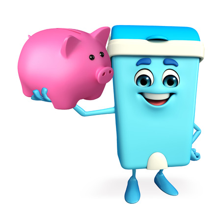 keep clean: Cartoon Character of Dustbin with piggy bank