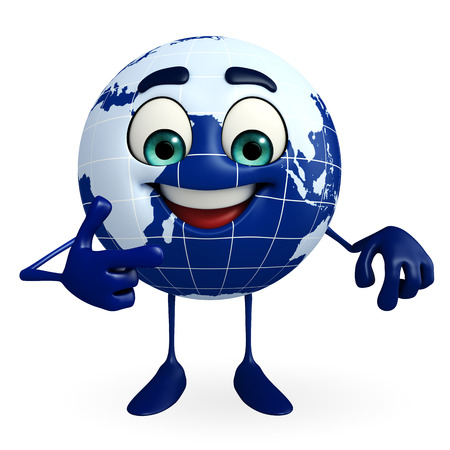 Cartoon Character of Globe is pointing photo