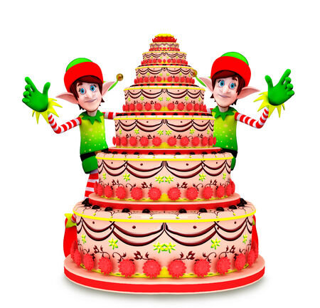 Cartoon character of elves with cake photo