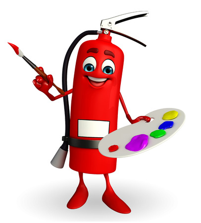 Cartoon Character of fire extinguisher with color plate