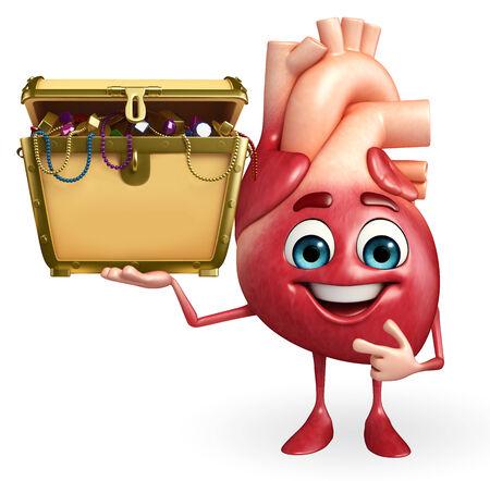 Cartoon Character of heart with treasure box photo