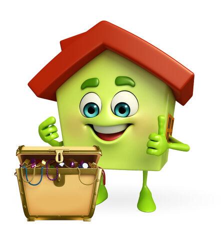 Cartoon Charcter of house with treasure box photo