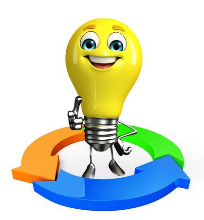 fuze: Cartoon Character of light bulb with arrow