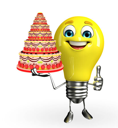 Cartoon Character of light bulb with cake
